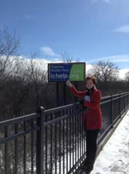 ICA Board Co-Chair, Barbara Zarnikow, in Cary, IL with ICA billboard - 1000 billboards placed across US to increase awareness about interstitial cystitis